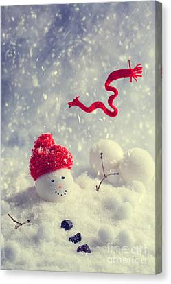 Winter Snowman Canvas Print by Amanda Elwell