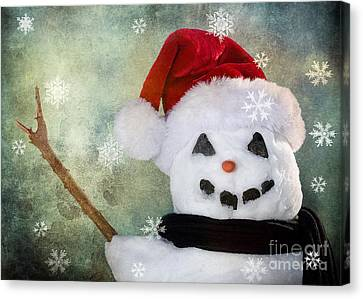 Winter Snowman Canvas Print by Cindy Singleton