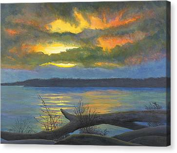 Winter Solstice At The Confluence Of The Mississippi And The Missouri Rivers Canvas Print by Garry McMichael