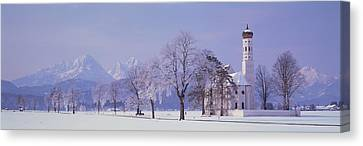 Winter St Coloman Church Schwangau Canvas Print by Panoramic Images