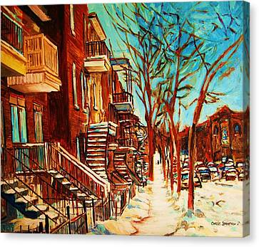 Canvas Print featuring the painting Winter Staircase by Carole Spandau