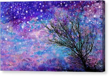 Winter Starry Night Canvas Print by Ann Powell