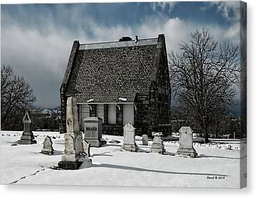 Canvas Print featuring the photograph Winter Stone House by Stephen  Johnson