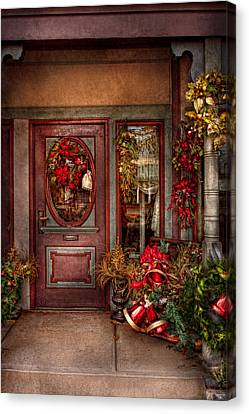Winter - Store - Metuchen Nj - Dressed For The Holidays Canvas Print by Mike Savad