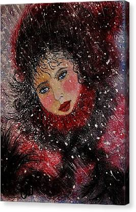 Canvas Print featuring the painting Winter Story... by Cristina Mihailescu