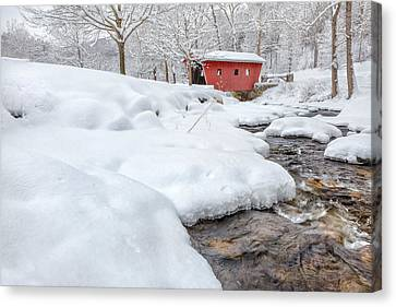 Covered Bridges Canvas Print - Winter Stream by Bill Wakeley