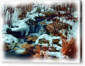 Winter Stream Canvas Print by Dennis Lundell