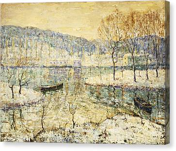 Water Vessels Canvas Print - Winter Stream by Ernest Lawson