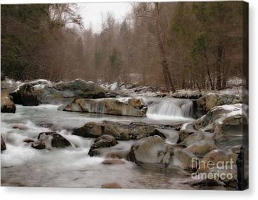 Canvas Print featuring the photograph Winter Stream by Geraldine DeBoer