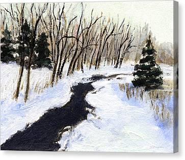 Winter Stream Canvas Print by J Reifsnyder