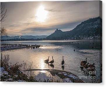 Winter Sugarloaf With Geese Canvas Print by Kari Yearous