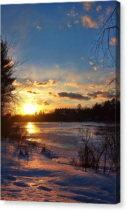 Winter Sundown Canvas Print by Joann Vitali