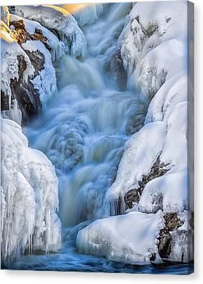 Winter Sunrise Great Falls Canvas Print by Bob Orsillo