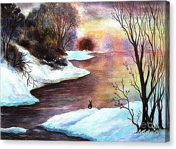 Winter Sunrise Canvas Print by Hazel Holland