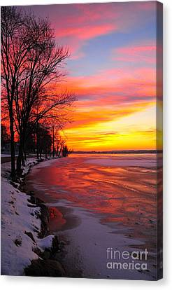 Canvas Print featuring the photograph Winter Sunrise On Lake Cadillac by Terri Gostola