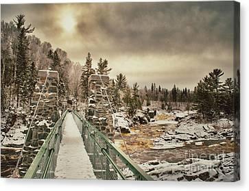 Winter Sunrise Over A Swinging Bridge Canvas Print by Mark David Zahn Photography