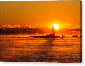Winter Sunrise Whaleback Light Canvas Print by Jeff Sinon