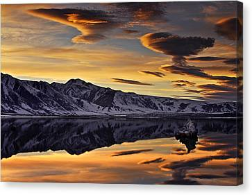Canvas Print featuring the photograph Winter Sunset At Mono Lake by David Orias