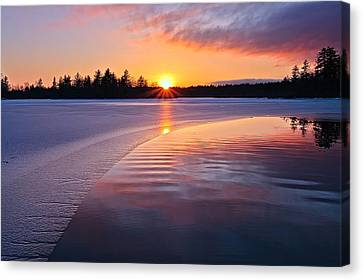 Winter Sunset  Dover Nh Canvas Print by Jeff Sinon