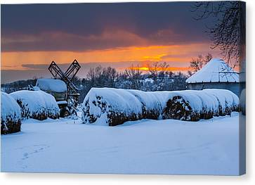 Winter Sunset On The Farm Canvas Print by Jan M Holden