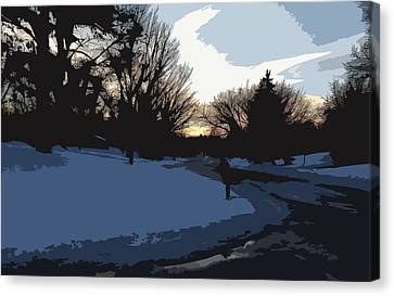 Canvas Print featuring the digital art Winter Sunset by Kirt Tisdale