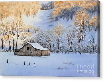 Winter Sunset Canvas Print by Michelle Wiarda