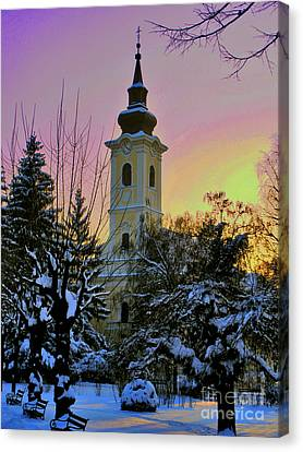 Winter Sunset Canvas Print by Nina Ficur Feenan