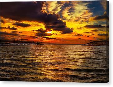Sunrise Canvas Print - Winter Sunset At Bell Slip N2 by Chris Bordeleau