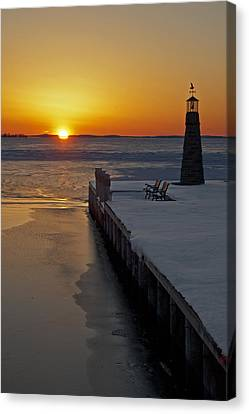 Canvas Print featuring the photograph Winter Sunset On Lake Winneconne by Judy  Johnson