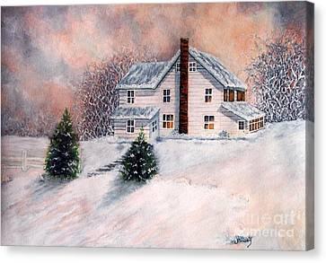 Winter Sunset On Winterton  Canvas Print