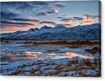 Winter Sunset Reflection Canvas Print by Cat Connor