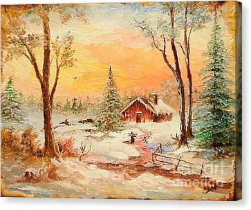 Winter Sunset Canvas Print by Sorin Apostolescu