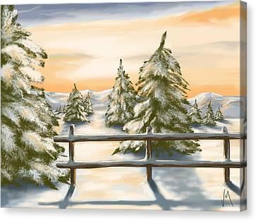Winter Sunset Canvas Print by Veronica Minozzi