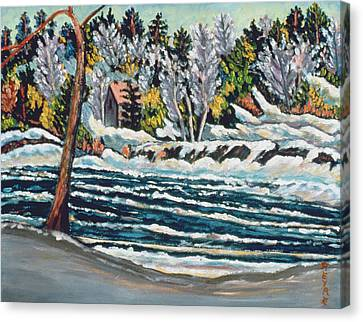 Winter Thaw Gatineau River Canvas Print by Patricia Eyre