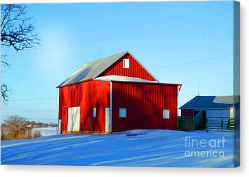 Winter Time Barn In Snow Canvas Print by Luther Fine Art
