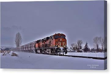 Canvas Print featuring the photograph Winter Train by Lynn Hopwood