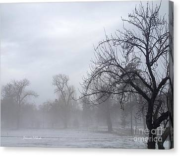 Canvas Print featuring the photograph Winter Trees With Mist by Jeannie Rhode