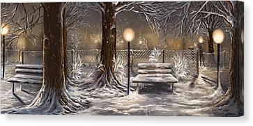 Snowscape Canvas Print - Winter Trilogy Collage by Veronica Minozzi