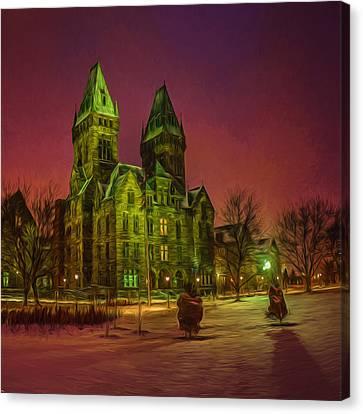 Winter Twilight At Buffalo Psych Center N1 Canvas Print