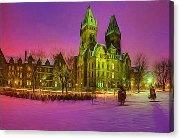 Winter Twilight At Buffalo Psych Center N2 Canvas Print by Chris Bordeleau