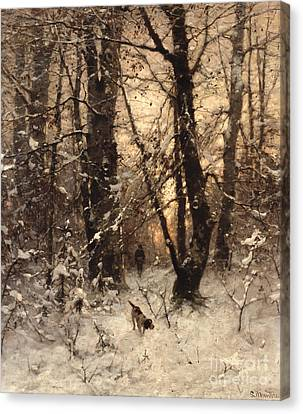 Rural Landscapes Canvas Print - Winter Twilight by Ludwig Munthe