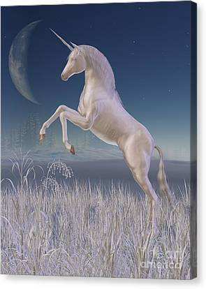 Winter Unicorn - Rearing Canvas Print by Fairy Fantasies