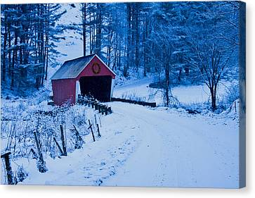 winter Vermont covered bridge Canvas Print