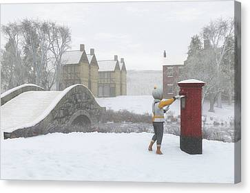 Winter Village With Postbox Canvas Print