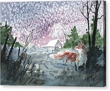 Canvas Print featuring the painting Winter Visitor by Sean Seal