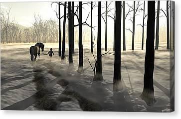 Winter Walk Canvas Print by Cynthia Decker