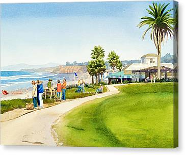Winter Walk Del Mar Canvas Print by Mary Helmreich