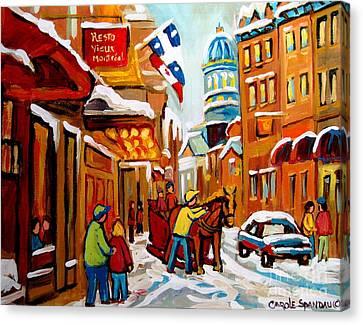Winter Walk Montreal Canvas Print by Carole Spandau