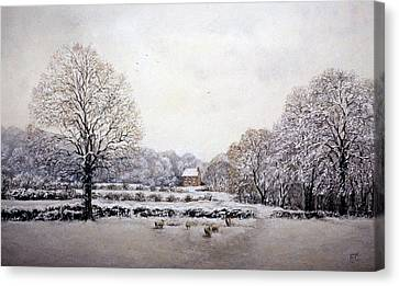 Canvas Print featuring the painting Winter Walk by Rosemary Colyer
