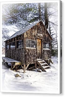 Winter Warming Hut Canvas Print by Edward Fielding